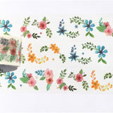 Floral Semicircles Wide Washi Tape