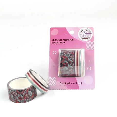 Tuberose Scratch and Sniff Washi - Floral and Stripes