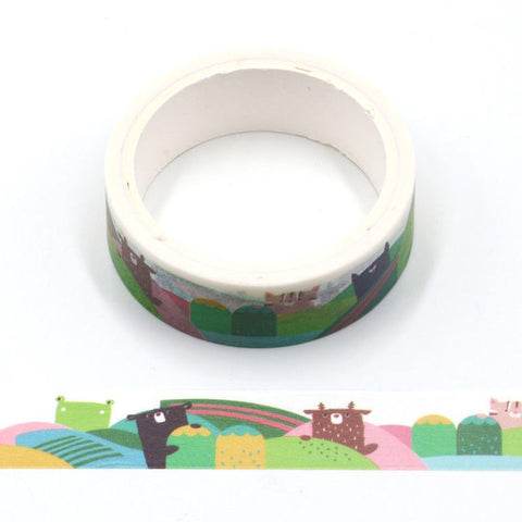 Cartoon Peek-a-Boo Animals Washi Tape