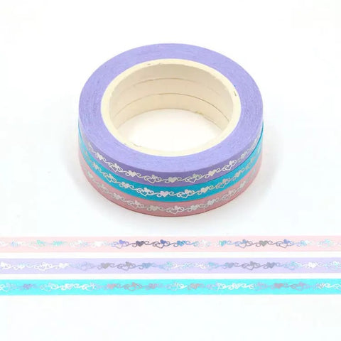 Foil Hearts Skinny Washi Tape Set of Three