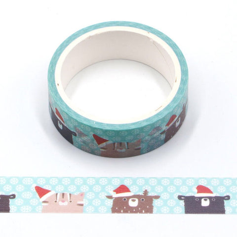 Cartoon Animals w/ Santa Hats Washi Tape