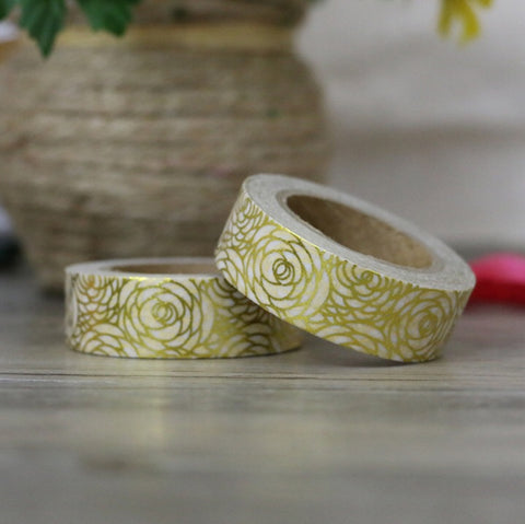 Gold Foil Roses Washi Tape