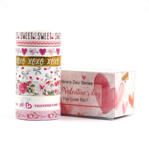 Valentine's Day Set of 8 Washi Tapes