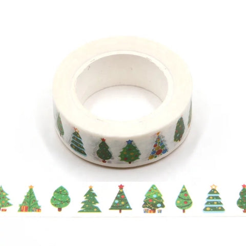 White w/ Christmas Trees Washi Tape