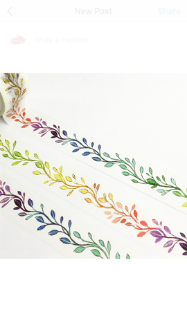 Rainbow Vines Wide Washi Tape