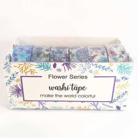 Blue Floral Set of 6 Washi Tapes