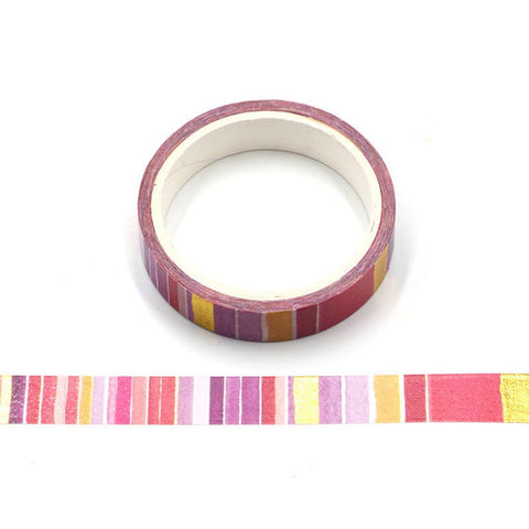 Pink Stripe w/ Gold Foil Skinny Washi Tape