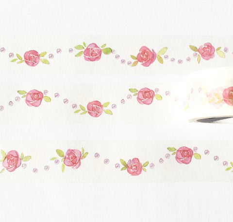 Roses and Pearls Wide Washi Tape