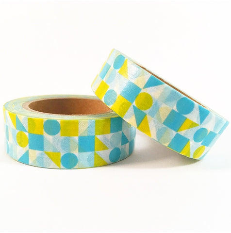 Blue and Yellow Shapes Washi Tape