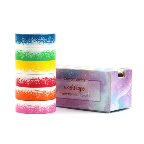 Rainbow Crosshatch Set of 6 Washi Tapes
