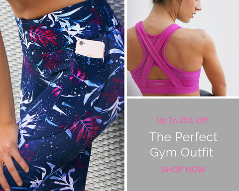 A lady wearing printed active wear leggings and a purple sports bra on sale for 25% off