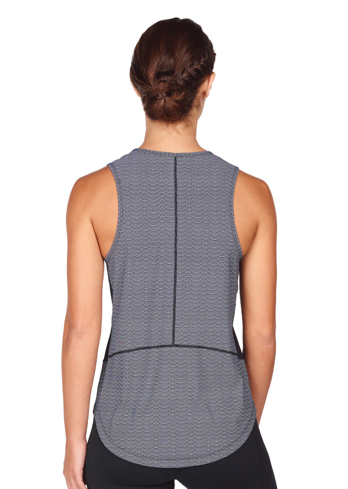 young woman wearing an active wear grey and black TANK back view