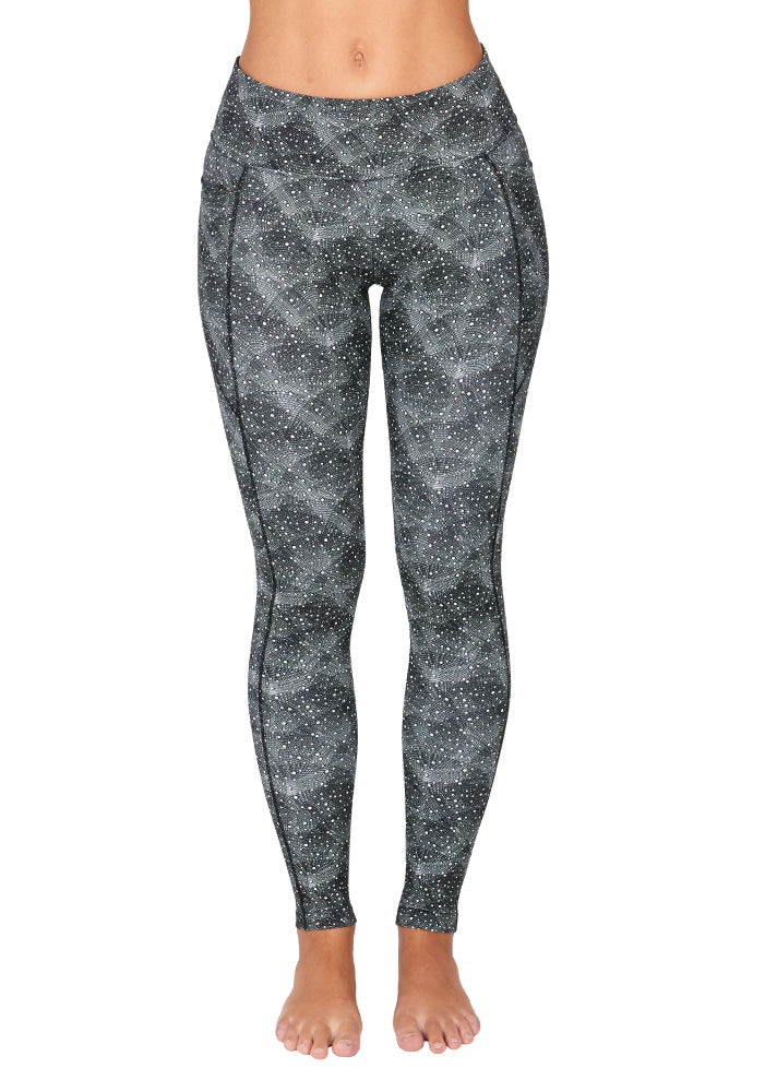 woman wearing geometrica grey full length sports leggings front view