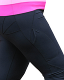 Two Tone black and pink active wear leggings side view