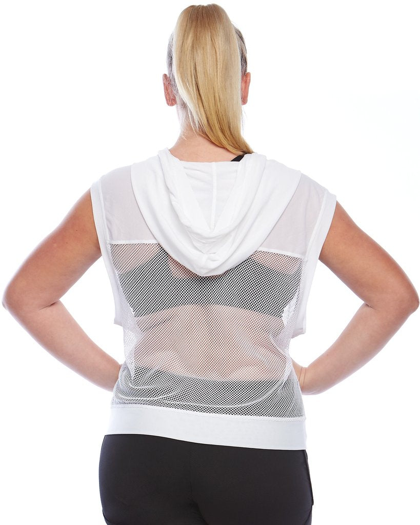 curvy lading wearing a white mesh plus size active wear hoodie back view