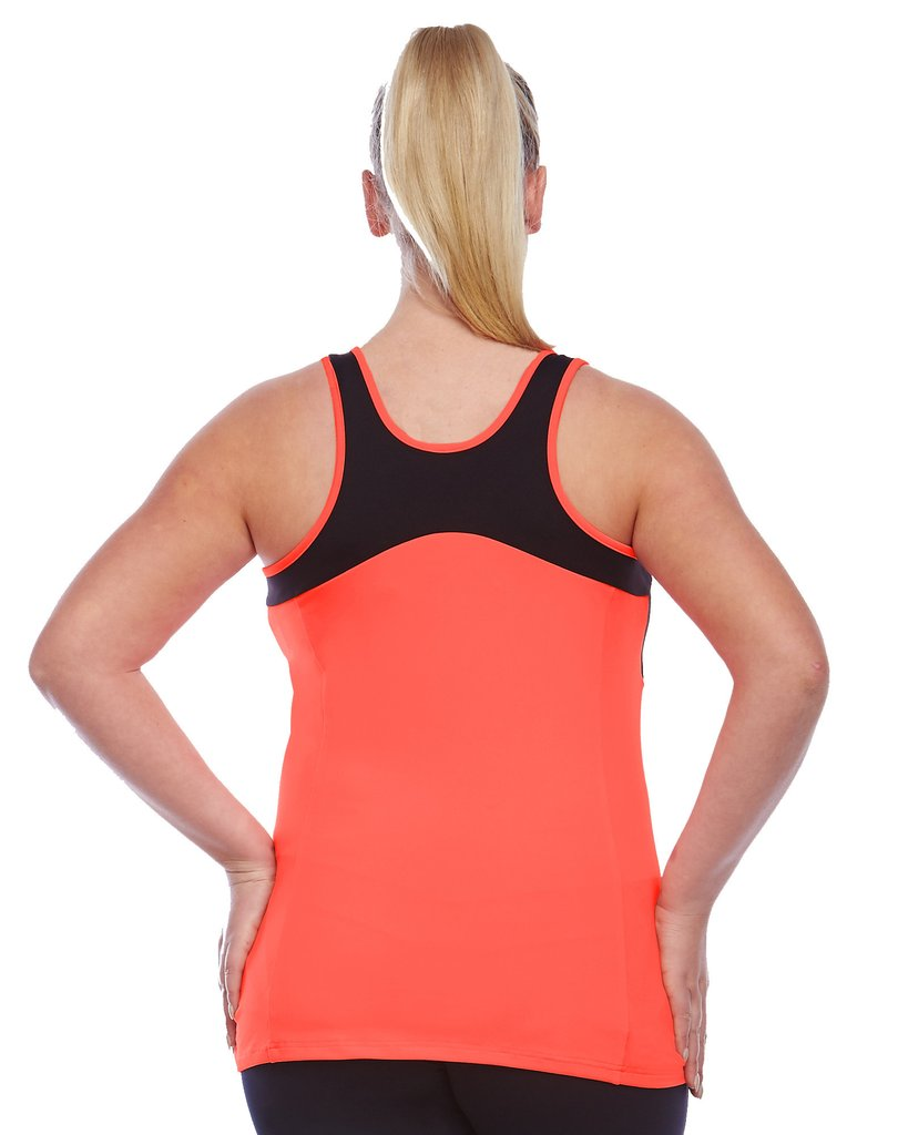 Curvy lady wearing a bright orange active wear tank top back view