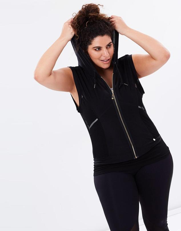 curvy lading wearing a black mesh plus size active wear hoodie front view