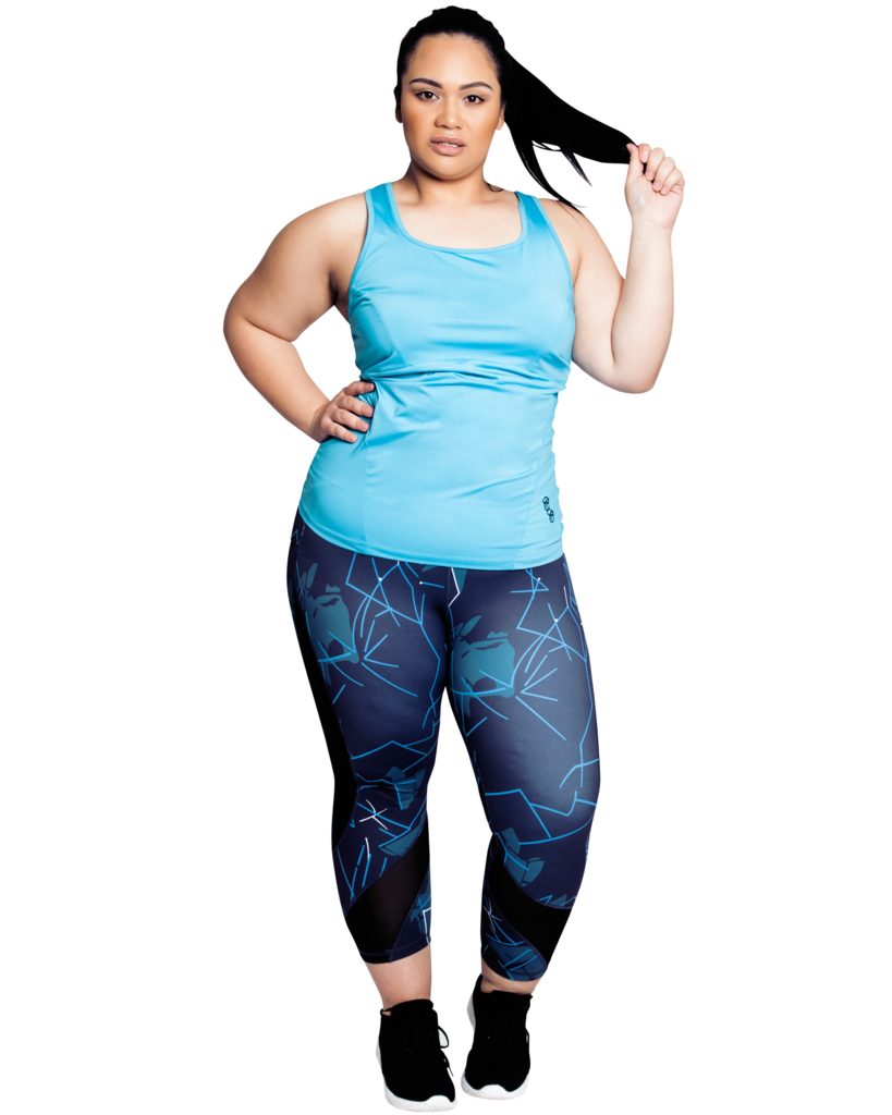 Curvy women wearing a black and blue active wear leggings