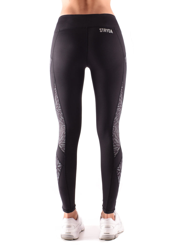 Ladies Full length black and shimmer leaf panel activewear tights