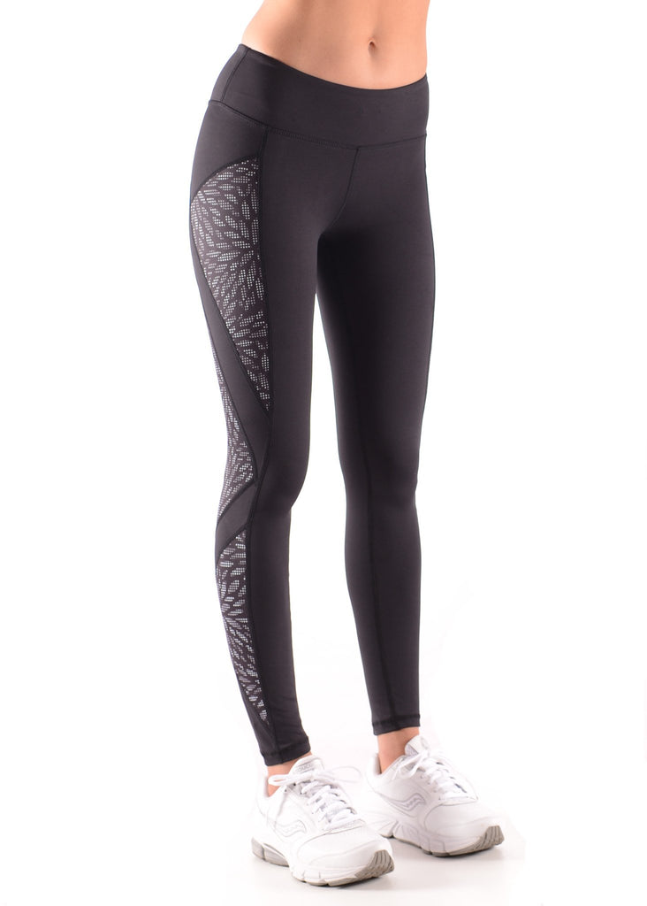 Ladies Full length black and shimmer leaf panel activewear tights side view