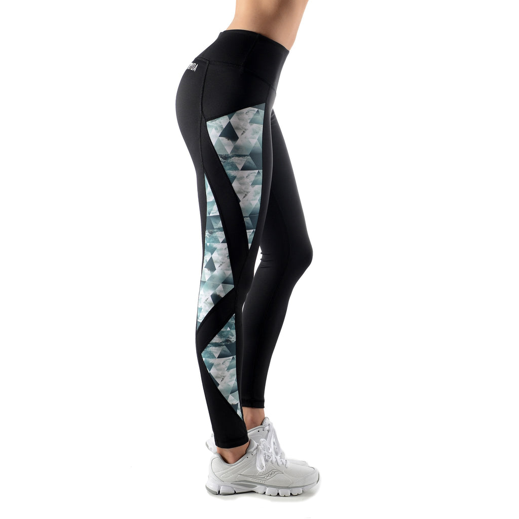 Ladies Full length black and Storm Tide panel activewear tights