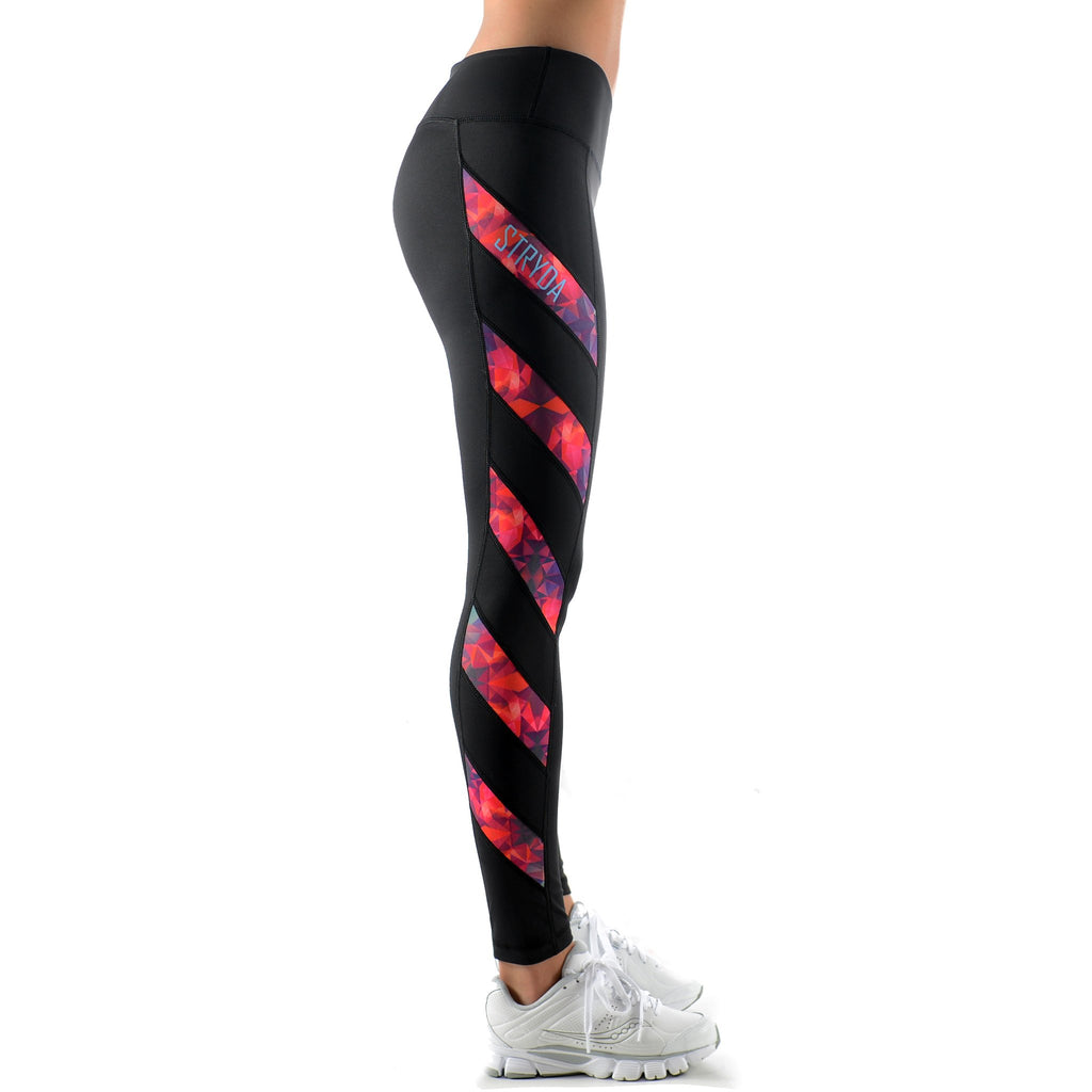 Ladies Full length black and Sunset Flare panel activewear tights side view