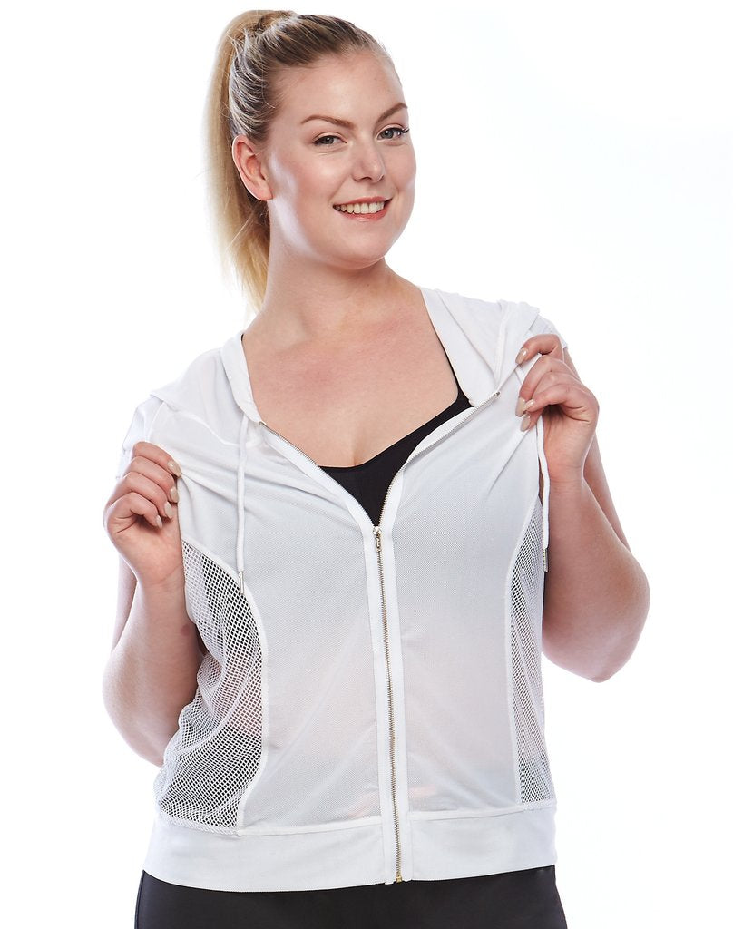 curvy lady wearing a white mesh active wear hoodie front view