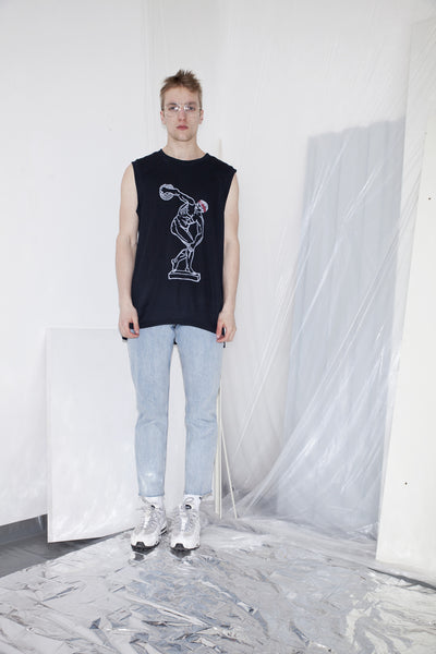 OST konzept Spring Summer 2017 mens black discobolus vest look1. Eastern european progressive trash fashion. Discos thrower.