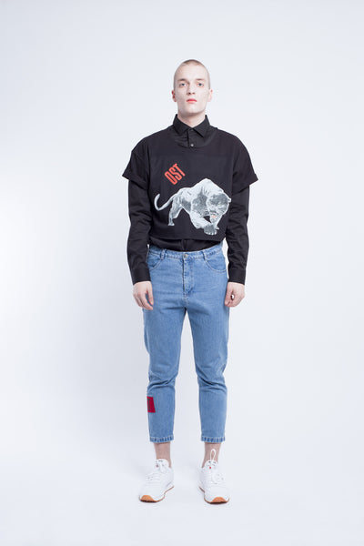 OST konzept Fall Winter 2016-17 VON OSTEN black panther crop top look1. Eastern european progressive trash fashion.