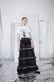 OST konzept Spring Summer 2017 womens black frill maxi skirt look2. Eastern european progressive trash fashion. Gypsy skirt.