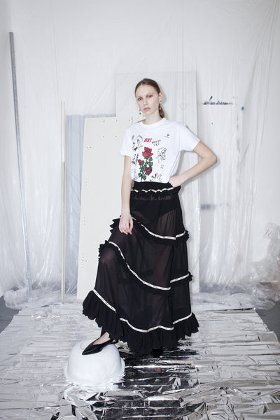 OST konzept Spring Summer 2017 womens black frill muslin maxi skirt look1. Eastern european progressive trash fashion. Gypsy skirt.