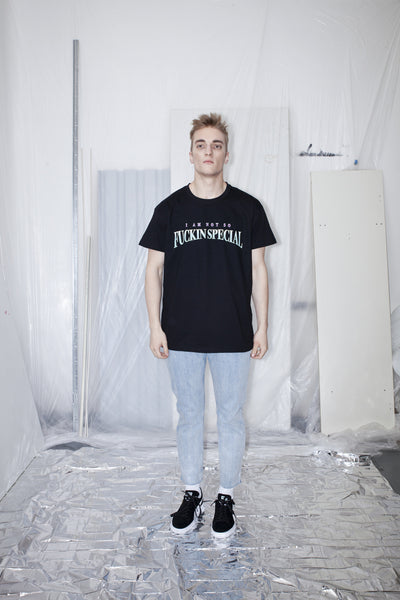 OST konzept Spring Summer 2017 mens black fuckin special t-shirt look1. Eastern european progressive trash fashion. 80's television. Radiohead. Stranger things.