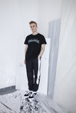 OST konzept Spring Summer 2017 black gold and white trackpants look1. Eastern european progressive trash fashion.
