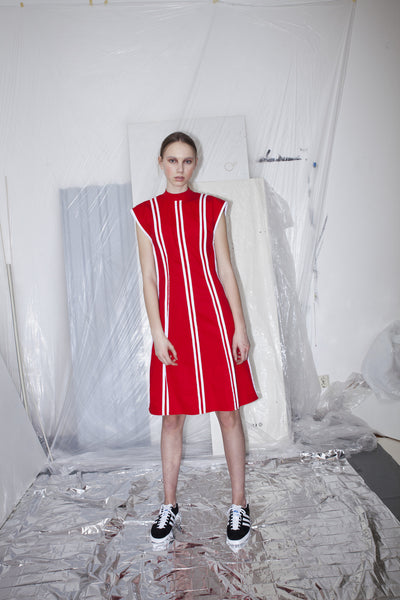 OST konzept Spring Summer 2017 womens binded dress in red and white poplin.