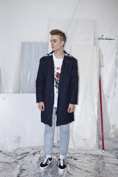 OST konzept Spring Summer 2017 mens ebroidered flower denim coat look1. Eastern european progressive trash fashion.