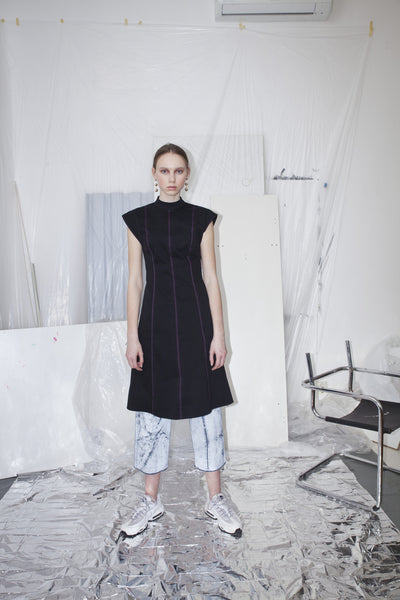 OST konzept Spring Summer 2017 womens black contrast dress. Eastern european progressive trash fashion.