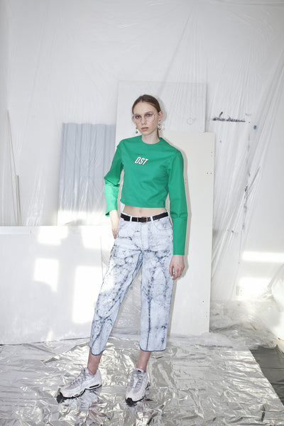 OST konzept Spring Summer 2017 womens green printed logo crop top look1. Eastern european progressive trash fashion.