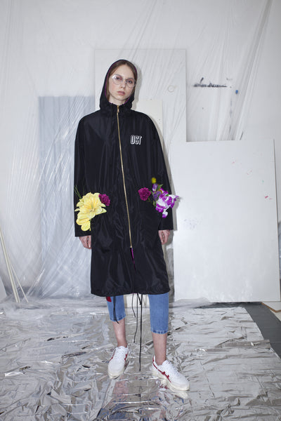 OST konzept Spring Summer 2017 womens reversible black orchid parka with printed back look1. Eastern european progressive trash fashion.