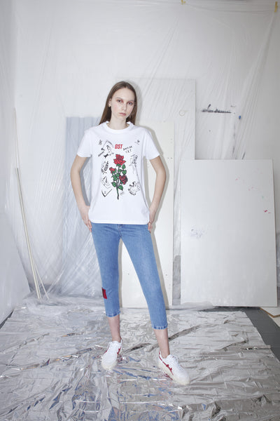 OST konzept Spring Summer 2017 womens white goddess tattoo and roses t-shirt look1. Eastern european progressive trash fashion.