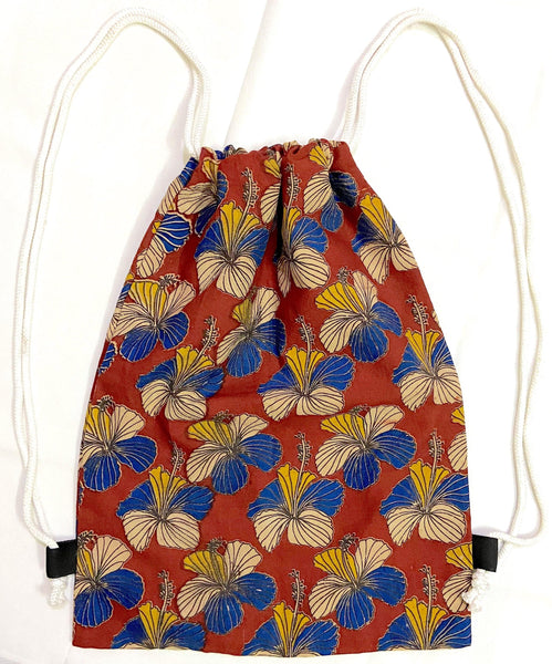 Kalamkari cotton Multipurpose Drawstring Backbag - 11001A, Accessories - Swadeshi Boutique
