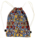 Kalamkari cotton Multipurpose Drawstring Backbag - 11003A, Accessories - Swadeshi Boutique