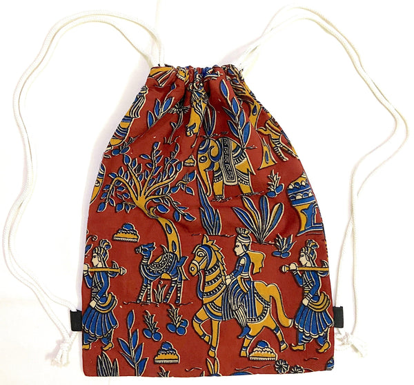Kalamkari cotton Multipurpose Drawstring Backbag - 11004A, Accessories - Swadeshi Boutique