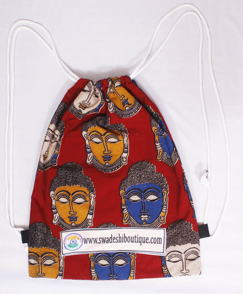 Kalamkari cotton Multipurpose Drawstring Backbag - 11005A, Accessories - Swadeshi Boutique