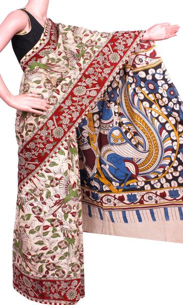 Kalamkari Crepe Silk Saree pattern with Peacock - Beige & Green (21114C)