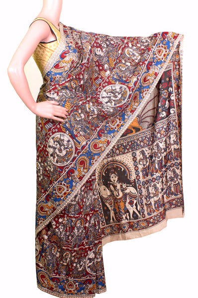 Kalamkari Crepe Silk Saree pattern with Krishnar in pallu (21148D), Sarees - Swadeshi Boutique