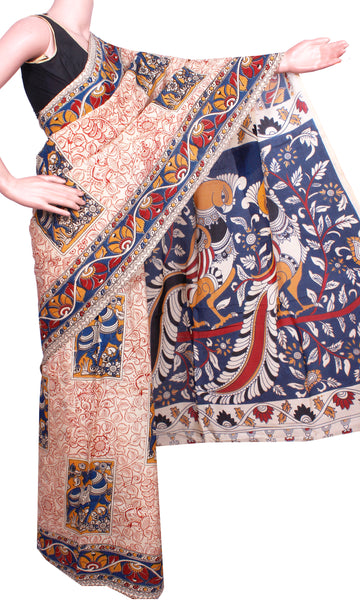 Kalamkari Crepe Silk Saree pattern with Peacock in pallu (21156B), Sarees - Swadeshi Boutique