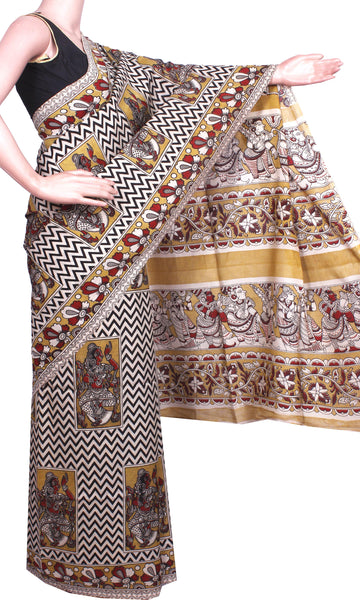 * Mega Sale  * Kalamkari Crepe Silk Saree pattern with krishnar in pallu - Beige (21165B)