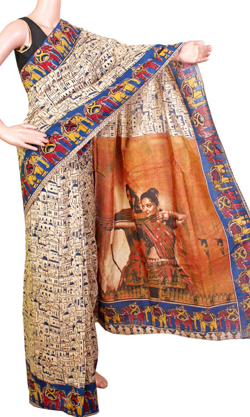 Kalamkari Crepe Silk pattern Saree with Beautiful elephants border & Bahubali-2 Pallu (Blue) (21193C) *Sale 50% Off*, Sarees - Swadeshi Boutique