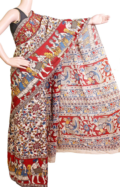 *AADI SALE (50% OFF)*Kalamkari Crepe Silk Saree pattern with Peacock in pallu - Beige (AD21197A)