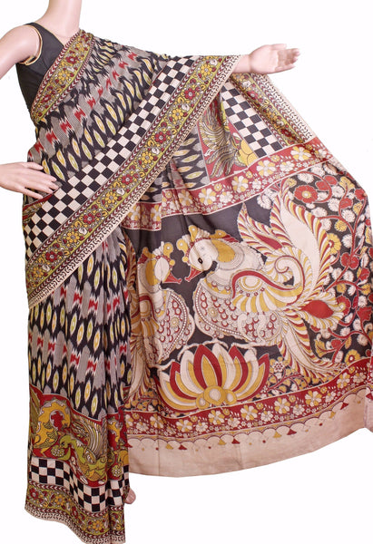 * Aadi Sale! 50% off * Kalamkari Crepe Silk Saree pattern with Peacock in pallu (21198A)
